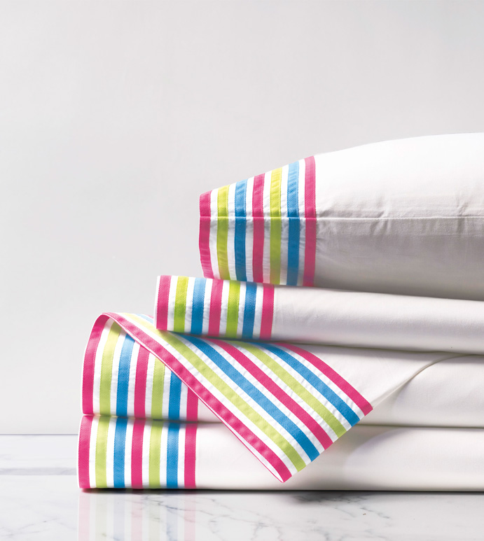 Posey Sheet Set - sheet set,sheeting,stripe,striped,stripes,primary,bright,colorful,blue,pink,green,percale,100% cotton,egyptian cotton,200 thread count,thread count,crisp,cotton percale,kids,childrens,girls,girly girl,girly