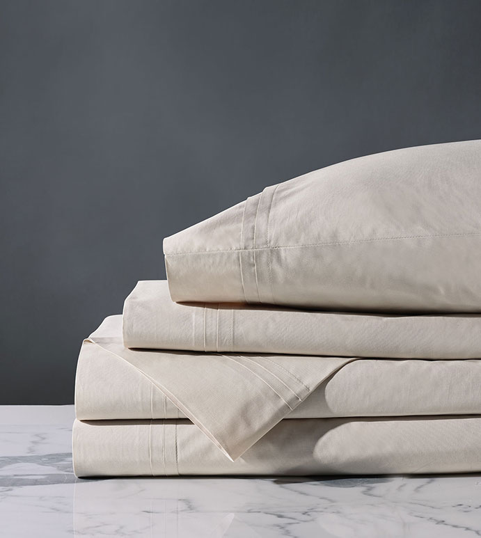 Vail Percale Sheet Set In Bisque - ,GRAY SHEET SET,PERCALE SHEET SET,GRAY PERCALE SHEET SET,LUXURY PERCALE SHEETS,GRAY SHEETS,GRAY FINE LINENS,PERCALE FINE LINENS,CUSTOM FINE LINENS,CUSTOM SHEETS,
