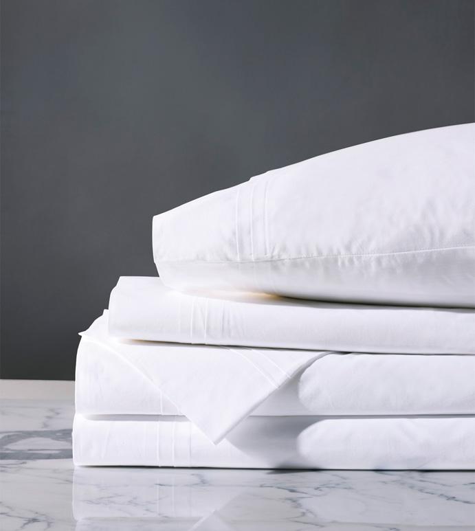 Vail Percale Sheet Set In White - ,GRAY SHEET SET,PERCALE SHEET SET,GRAY PERCALE SHEET SET,LUXURY PERCALE SHEETS,GRAY SHEETS,GRAY FINE LINENS,PERCALE FINE LINENS,CUSTOM FINE LINENS,CUSTOM SHEETS,