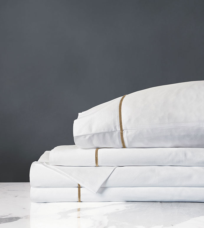 Linea Sheet Set In White & Antique - SHEETS,SHEETING,FINE LINEN,RIBBON,VELVET,SATEEN,ITALIAN,EUROPEAN,SILKY,HIGH THREAD COUNT,THREAD COUNT,LUXURIOUS,LUXURY,MADE IN AMERICA,WASHABLE,BEDDING,SHEET SET,FLAT SHEET,WHITE,