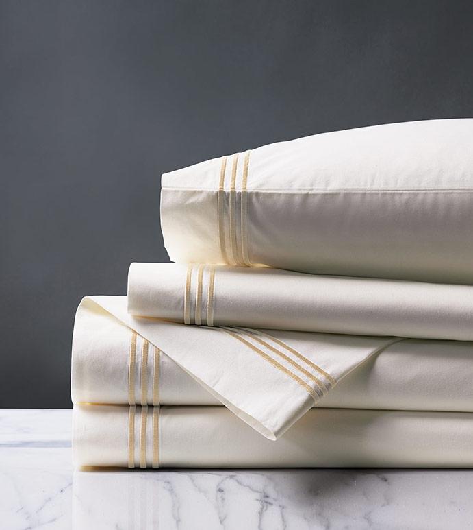 Tessa Satin Stitch Sheet Set in Ivory/Bisque - ,PERCALE SHEET SET,PERCALE SHEETS,PERCALE FINE LINENS,WHITE PERCALE SHEETS,WHITE PERCALE SHEETS SET,WHITE FINE LINENS,SATIN STITCH FINE LINENS,3 ROW STITCH SHEETS,3 ROW STITCH