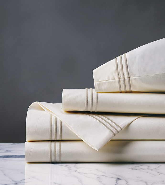 Tessa Satin Stitch Sheet Set in Ivory/Sable - ,PERCALE SHEET SET,PERCALE SHEETS,PERCALE FINE LINENS,WHITE PERCALE SHEETS,WHITE PERCALE SHEETS SET,WHITE FINE LINENS,SATIN STITCH FINE LINENS,3 ROW STITCH SHEETS,3 ROW STITCH