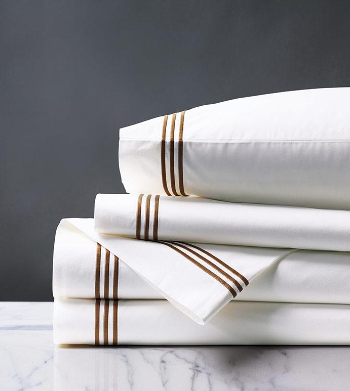 Tessa Satin Stitch Sheet Set in White/Brown - ,PERCALE SHEET SET,PERCALE SHEETS,PERCALE FINE LINENS,WHITE PERCALE SHEETS,WHITE PERCALE SHEETS SET,WHITE FINE LINENS,SATIN STITCH FINE LINENS,3 ROW STITCH SHEETS,3 ROW STITCH