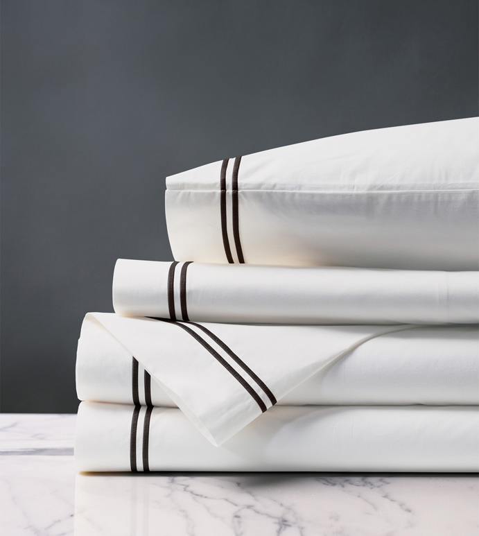 Enzo Satin Stitch Sheet Set in Black - ,PERCALE SHEETS,COTTON PERCALE SHEETS,WHITE COTTON PERCALE,WHITE COTTON SHEETS,LUXURY COTTON SHEETS,SATIN STITCH SHEETS,2 ROW STITCH SHEETS,SATIN STITCH FINE LINENS,