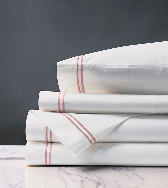 Enzo Satin Stitch Sheet Set in Bloom - ,PERCALE SHEETS,COTTON PERCALE SHEETS,WHITE COTTON PERCALE,WHITE COTTON SHEETS,LUXURY COTTON SHEETS,SATIN STITCH SHEETS,2 ROW STITCH SHEETS,SATIN STITCH FINE LINENS,