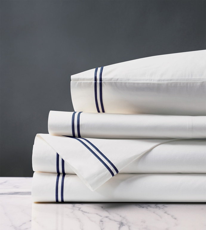 Enzo Satin Stitch Sheet Set in Navy - ,PERCALE SHEETS,COTTON PERCALE SHEETS,WHITE COTTON PERCALE,WHITE COTTON SHEETS,LUXURY COTTON SHEETS,SATIN STITCH SHEETS,2 ROW STITCH SHEETS,SATIN STITCH FINE LINENS,