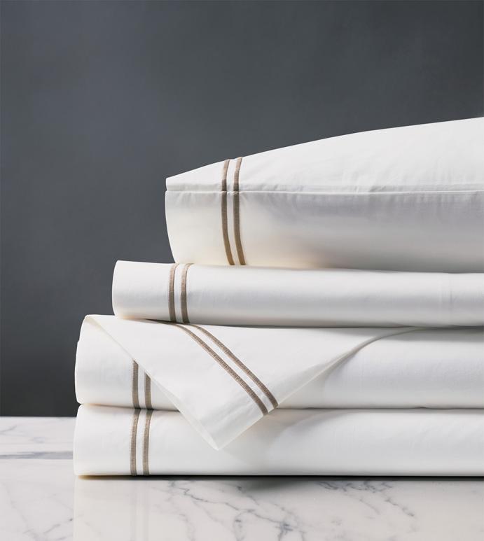 Enzo White/Sable Sheet Set