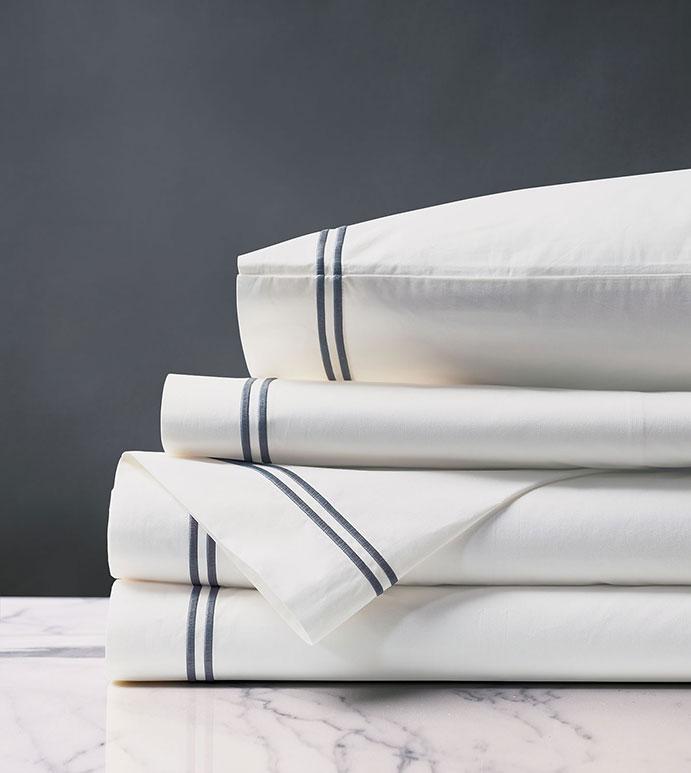 Enzo Satin Stitch Sheet Set in Slate - ,Egyptian cotton, percale sheets, satin stitch, gray stitching,  fine linens, luxury sheets, sheet set, luxury linens, bedding, bedding basics, sheets, luxury bedding,