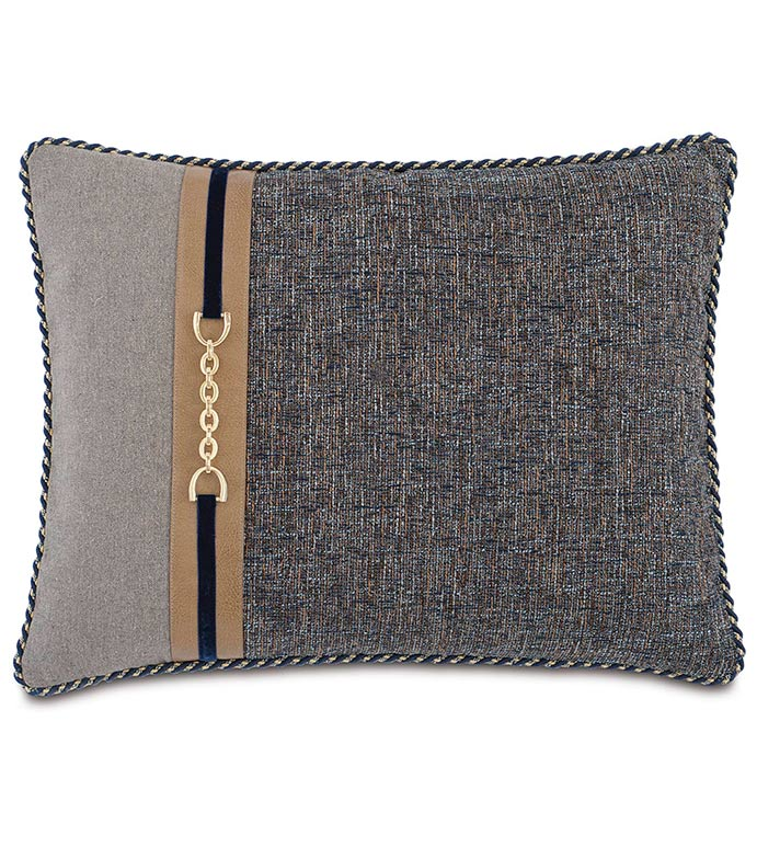 Rosenthal Dusk Standard Sham Left - NAVY AND GREY STANDARD SHAM,TRADITIONAL STYLE BEDDING,CLASSIC BEDDING,HANDSOME NAVY PILLOW,MENS ROOM BEDDING,LEATHER ACCENT,MENS TRADITIONAL BEDDING,NEUTRAL,GOLD,BUCKLE ACCENT