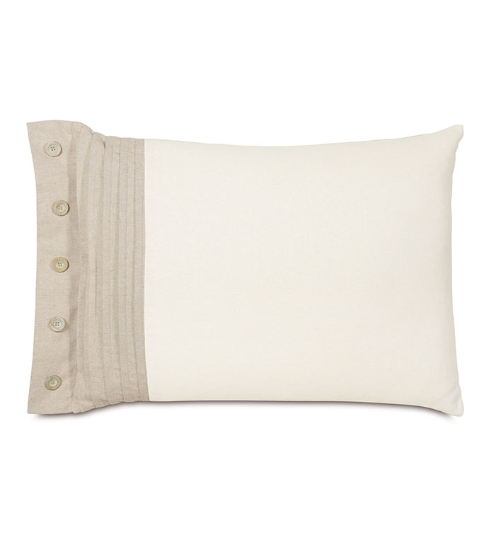 Maritime Pleated Left Standard Sham In Ivory - ACCENT PILLOW,THROW PILLOW,STANDARD SHAM,EASTERN ACCENTS,IVORY,LINEN,SOLID,PLEATED,BUTTONS,
