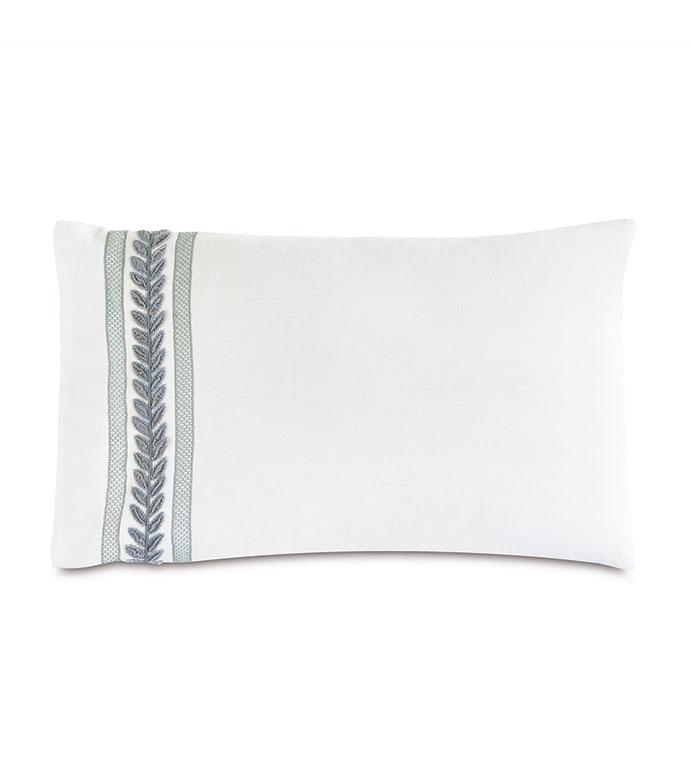 Amberlynn Velvet Leaf Standard Sham (Left) - ,white standard sham,luxury standard sham,linen standard sham,white linen,100% linen,embroidered standard sham,embroidered bedding,luxury bedding,100% linen bedding,
