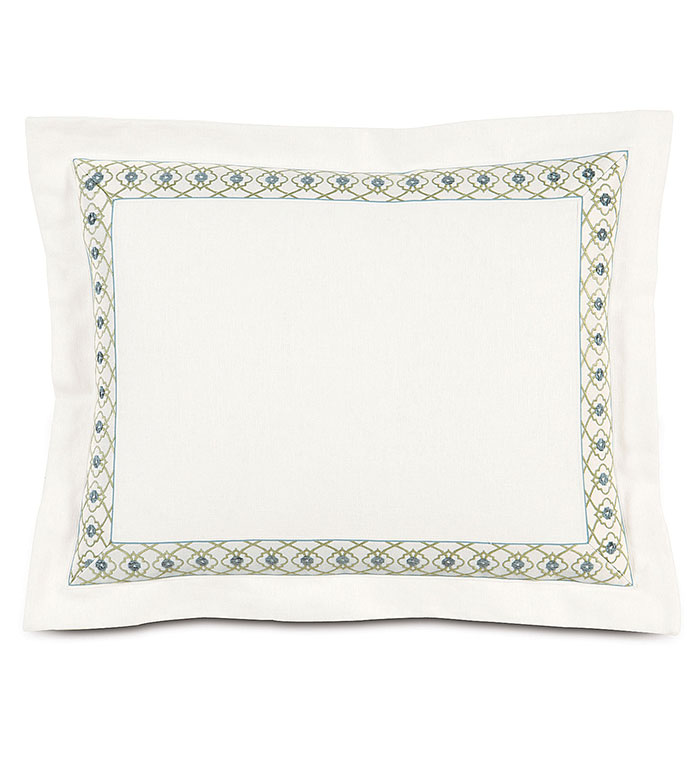 Filly White Standard Sham - WHITE DECORATIVE PILLOW SHAM,WHITE WITH GREEN TRIM,SHAM WITH SELF FLANGE,INSET BORDER,FEMININE,CASUAL CONTEMPORARY,WHITE AND GREEN,WHITE AND BLUE,PASTEL,GEOMETRIC,FLORAL