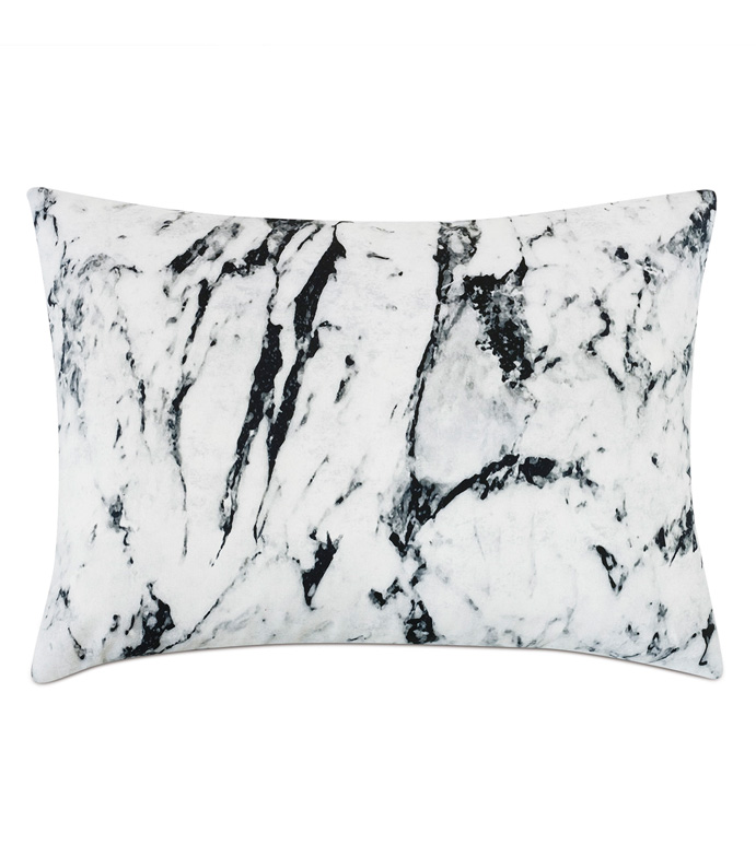 Banks Marble Standard Sham - ACCENT PILLOW,THROW PILLOW,STANDARD SHAM,EASTERN ACCENTS,MONOCHROME,CONTEMPORARY,100% COTTON,MARBLE,KNIFE EDGE,LUXURY BEDDING,MARBLE PILLOW,BLACK AND WHITE BEDDING,DOUBLE SIDED,