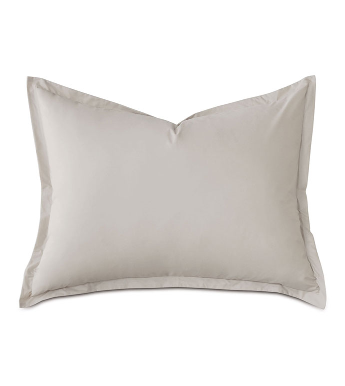 Vail Percale Standard Sham In Bisque - ,PERCALE STANDARD SHAM,COTTON PERCALE SHAMS,COTTON PERCALE STANDARD SHAM,GRAY STANDARD SHAM,GRAY SHAMS,PERCALE FINE LINENS,GRAY PERCALE FINE LINENS,