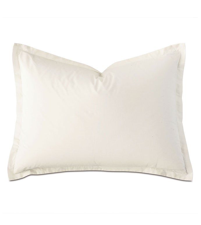 Vail Percale Standard Sham In Ivory - FLANGE,PERCALE,100% COTTON,EGYPTIAN COTTON,PERCALE COTTON,LUXURY,HIGH-END,HIGH-QUALITY,20X27,THROW PILLOW,ACCENT PILLOW,IVORY,CREAM,WHITE,NEUTRAL,BEIGE