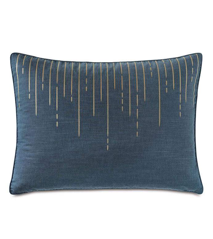 Tabitha Metallic Drip Standard Sham - .reversible pillow,standard sham,purple,blue,metallic,gold,glam pillow,purple pillow, blue pillow, gold print, luxury standard sham, luxury bedding, reversible bedding