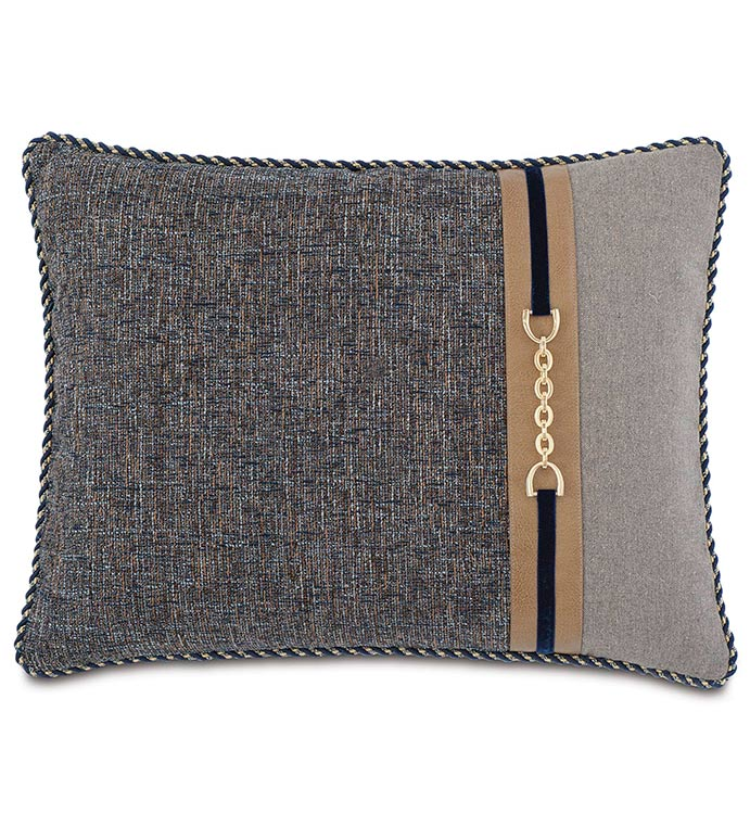 Rosenthal Dusk Standard Sham Right - NAVY AND GREY STANDARD SHAM,TRADITIONAL STYLE BEDDING,CLASSIC BEDDING,HANDSOME NAVY PILLOW,MENS ROOM BEDDING,LEATHER ACCENT,MENS TRADITIONAL BEDDING,NEUTRAL,GOLD,BUCKLE ACCENT