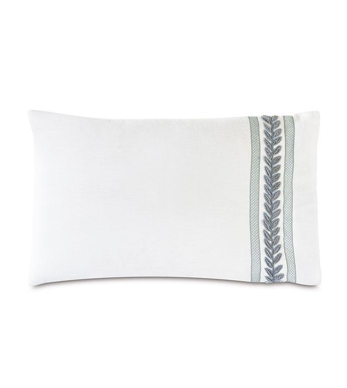 Amberlynn Velvet Leaf Standard Sham (Right) - ,white standard sham,luxury standard sham,linen standard sham,white linen,100% linen,embroidered standard sham,embroidered bedding,luxury bedding,100% linen bedding,