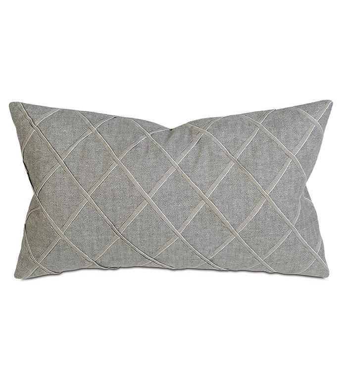 Haas Flint Boudoir - pillow, throw pillow,solid pillow,lattice pillow,rectangle pillow,decorative gray pillow,boudoir sham pillow,sham accent pillow,gray pillow,feather pillow,zip closure pillow