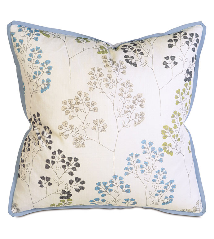 Pippa Sky - PILLOW,BOTANICAL PILLOW,SQUARE PILLOW,PRINTED ACCENT PILLOW,THROW PILLOW,FEATHER PILLOW,PRINTED PILLOW PATTERN,ZIPPER CLOSURE PILLOW,ACCENT PILLOW,RIBBON TRIM,BUTTERFLY PLEAT TRIM