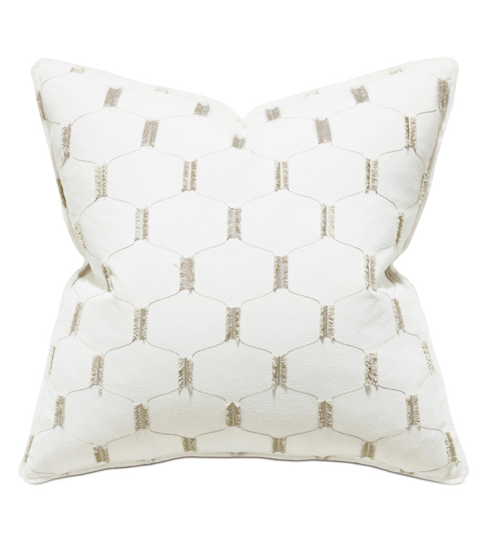 Filmore Embroidered Decorative Pillow - ACCENT PILLOW,THROW PILLOW,THOM FILICIA,EASTERN ACCENTS,WHITE,LATTICE,TRELLIS,EMBROIDERED,GEOMETRIC,NO TRIM,LUXURY,EMBROIDERY,GLAM,TEXTURE,TEXTURED,LUXE,PILLOW,WITHOUT TRIM,