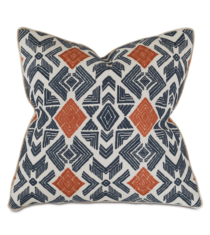 Lodi Embroidered Decorative Pillow - THOM FILICIA,EMBROIDERED,EMBROIDERY,ETHNIC,EXOTIC,TRIBAL,IKAT,BLUE AND ORANGE,BLUE,ORANGE,PATTERN,BOHO,ECLECTIC