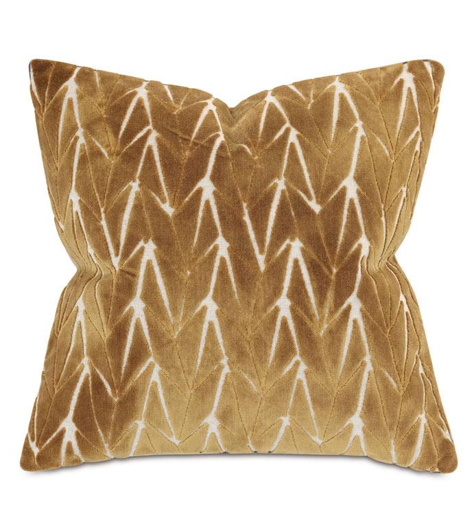 Phase Velvet Decorative Pillow In Mustard