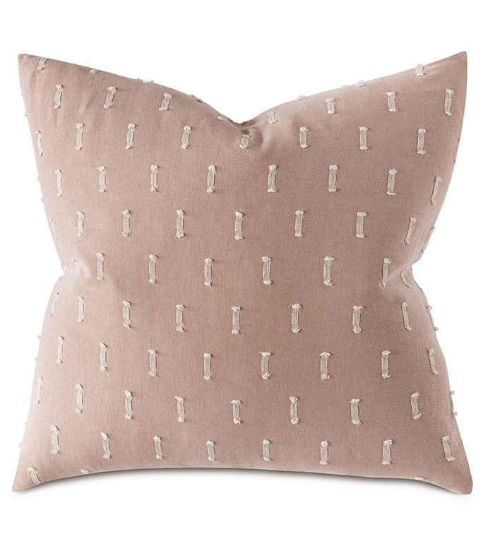 Bluff Fil Coupe Euro Sham - 100% COTTON EURO SHAM,PINK EURO SHAM,FILE COUPE,CUT EMBROIDERY,STRIPED,BROKEN STRIPE,PILLOW,PINK PILLOW,COTTON PILLOW,100% COTTON,SOFT PINK,MILLENNIAL PINK,REVERSIBLE,