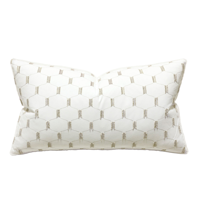 Filmore Embroidered King Sham In Ivory - ACCENT PILLOW,THROW PILLOW,KING SHAM,THOM FILICIA,EASTERN ACCENTS,WHITE,GLAM,GLAMOROUS,EMBROIDERED,LATTICE,TRELLIS,FRINGE,CHIC,MODERN,FRILLY,TEXTURED,LUXURY,PILLOW,DESIGNER,BEDDING