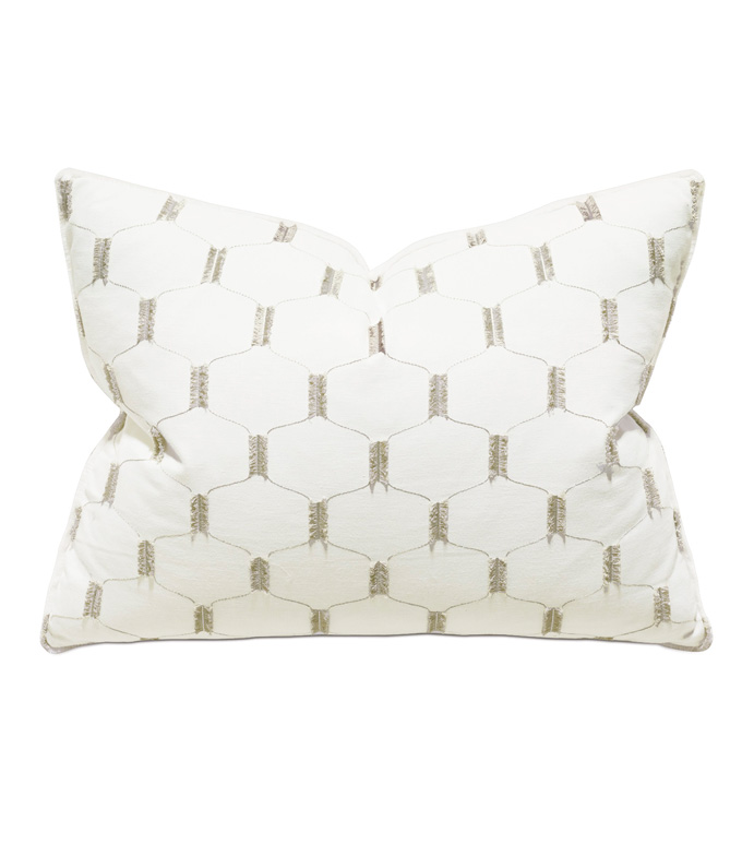 Filmore Embroidered Standard Sham In Ivory - ACCENT PILLOW,THROW PILLOW,STANDARD SHAM,THOM FILICIA,EASTERN ACCENTS,WHITE,LATTICE,TRELLIS,EMBROIDERED,GEOMETRIC,BRUSH FRINGE,LUXURY,EMBROIDERY,GLAM,TEXTURE,TEXTURED,LUXE,PILLOW,