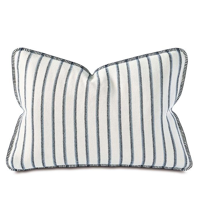 Marco Striped Standard Sham - ,coastal,nautical,blue pillow,blue standard sham,casual sham,striped pillow, striped standard sham,stripes,casual sham,blue,coastal bedding, casual bedding, blanket stitch,