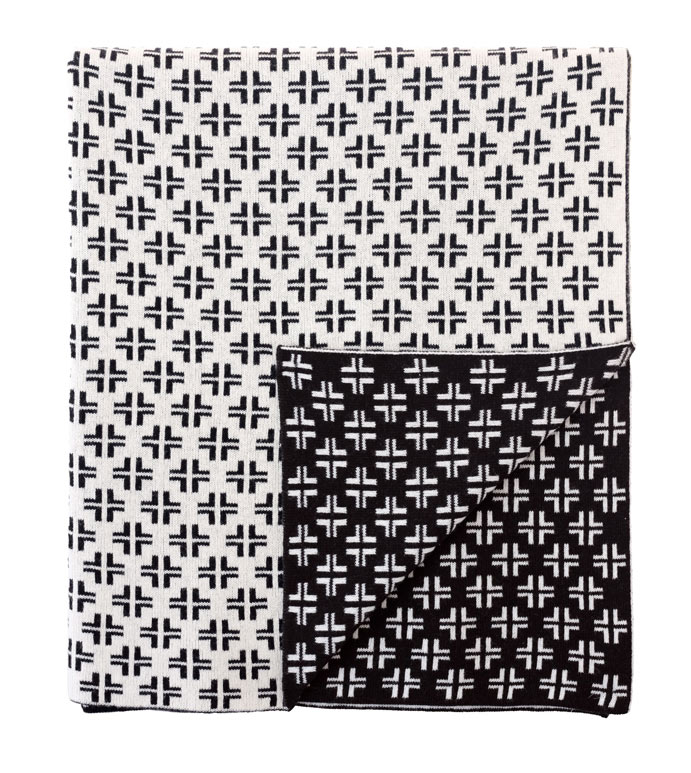 Lennon Criss-Cross Knit Throw In Black