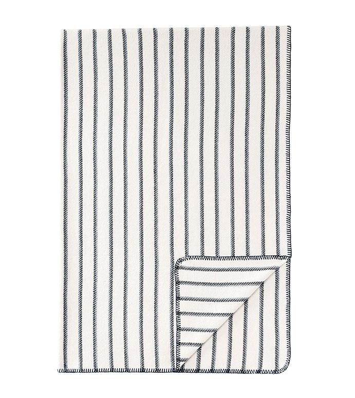 Marco Striped Throw - ,coastal,nautical,blanket stitch,blue throw, cozy throw,casual blanket,striped throw, striped blanket,blue and white, stripes,casual throw,blue,coastal livingroom, luxury throw,