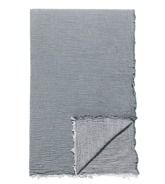 Delaveen Cotton Throw In Gray - ,GRAY THROW,COTTON THROW,COTTON GRAY THROW,LUXURY THROW,GRAY BLANKET,LIGHT COTTON BLANKET,COTTON JACQUARD THROW,FRAYED THROW,FRAYED BLANKET,MATELASSE THROW,MATELASSE BLANKET,
