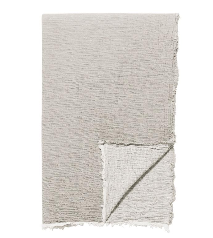 Delaveen Cotton Throw In Sand - ,TAN THROW,COTTON THROW,COTTON TAN THROW,LUXURY THROW,TAN BLANKET,LIGHT COTTON BLANKET,COTTON JACQUARD THROW,FRAYED THROW,BEIGE THROW,BEIGE BLANKET,