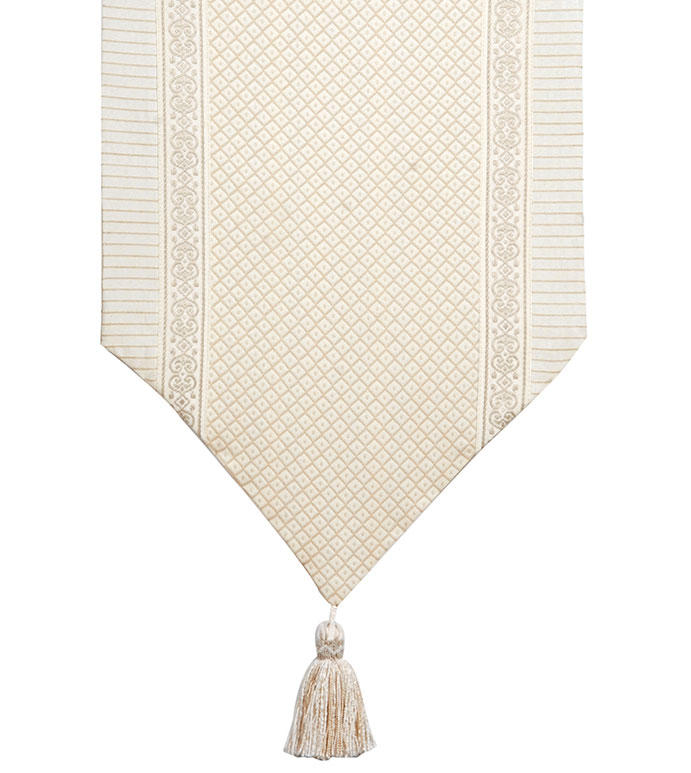 Shawford Birch Insert Runner - VICTORIAN TABLE RUNNER,IVORY TRADITIONAL TABLE RUNNER,TASSEL,REVERSIBLE TABLE RUNNER,TRADITIONAL HOME TABLE RUNNER,NEUTRAL CLASSIC,SOUTHERN CLASSIC,STRIPED,INSET TRIM,WHITE AND TAN