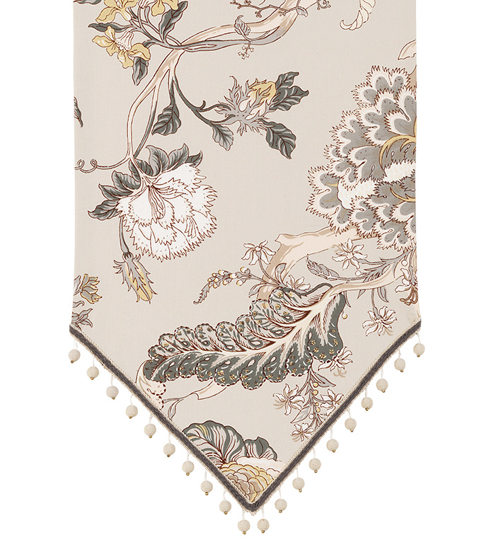 Edith Table Runner - floral table runner,gray floral table runner,botanical table runner,large floral print,gray and tan,neutral floral table runner,transitional,english garden,beaded trim,ball trim