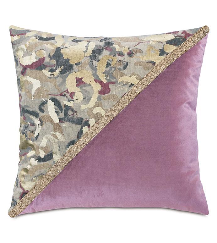 Valentina Color Block Decorative Pillow (Right) - ,DECOR,DECORATIVE PILLOW,METALLIC,METALLIC PILLOW,ABSTRACT PRINT,VELVET,JEWEL TONES,COLOR BLOCK,GLITTER,GOLD,GOLD PILLOW,LUXURY DECOR,GLITTER PILLOW,