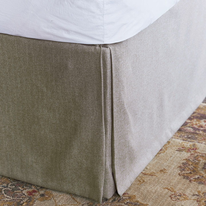 Rudy Pleated Bed Skirt In Beige