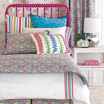 Gigi - kids,childrens,bedding,decor,home decor,pillows,bedding colleciton,fine linens,polka-dots,confetti,speckled,pink,bright,colorful,ribbons,shams,duvet cover,comforter,blanket,sheets,sheeting,unicorn,throw pillow,bed skirt,twin bed,twin,full,queen,king,accent pillow,kids accent pillow,girls,girly girl,girly,