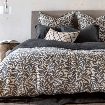 Camilla - ,100% linen bedding,luxury linen bedding,vine print bedding,floral linen bedding,charcoal linen bedding,stonewashed linen bedding,linen fine linens,printed linen,charcoal fine linens,
