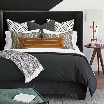 Felix - luxury bedding,monochrome bedding,dark bedding,graphic bedding,graphic patter,black duvet,black and white,mustard pillow,black and white pillow, monochrome pillow