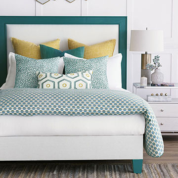 Kennedy - teal,teal bedding,colorful bedding,luxury bedding, teal pillows,yellow pillow,citron,embroidery,embroidered pillow,geometric pillow,teal pillow