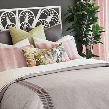 Lara - ,pastel bedding,taupe bedding,floral bedding,pastel pink bedding,taupe linen,floral bolster,floral pillow,pink floral print,taupe floral print,pink and gray bedding,