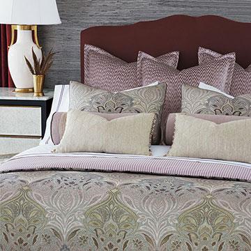Evie - ,luxury bedding,designer bedding,designer bedroom,alexa hampton,pink bedding,mauve bedding,purple bedding,luxury bedroom,luxury pillow,luxury duvet,ticking stripe,designer pillow,pink velvet,