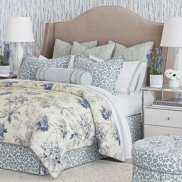 Liesl - ,celerie kemble,designer bedding,pastel bedding,pastel animal print,floral bedding,blue bedding,faux bois,faux bois textiles,animal print ottoman,celerie kemble bedding,blue gray,floral duvet,