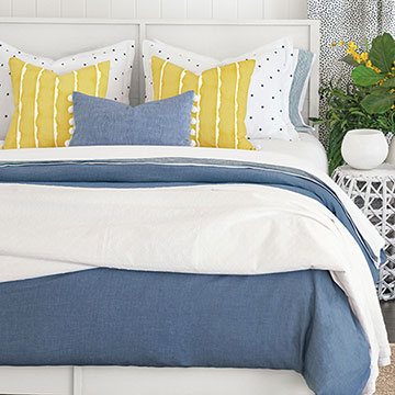 Verano - ,polka dot bedding,blue and yellow bedding,ball trim pillow,blue and yellow decor,luxury kids bedding,luxury cotton bedding,blue duvet cover,yellow pillow,blue bedset,