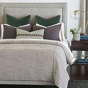 Pike - ,gray bedding,sophisticated bedding,velvet euro sham,gray duvet cover,unisex bedding,gender neutral bedding,tailored bedding,traditional bedding,