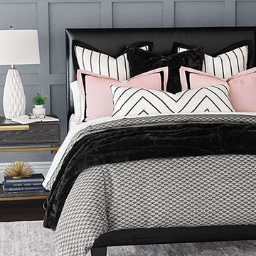 Joella - ,monochrome bedding,monochrome decor,black and pink bedding,black faux fur,black and white bedding,faux fur pillow,faux fur bedding,monochrome pillows,