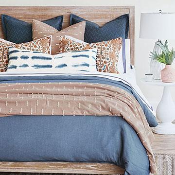 Kellen - ,terracotta bedding,terracotta pillows,boho bedding,blue and coral bedding,blue bedding,southwest decor,southwestern bedding,burnt orange bedding,